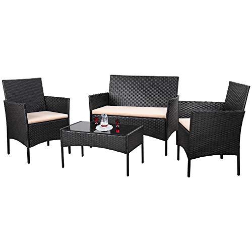 Homall 4 Pieces Outdoor Patio Furniture Sets Rattan Chair Wicker Set,Outdoor Indoor Use Backyard Porch Garden Poolside Balcony Furniture