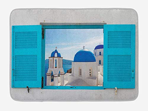 Landscape Bath Mat, Window with View of Classical Building with Blue Domes Oia Santorini Greece, Plush Bathroom Decor Mat with Non Slip Backing, 23.6 W X 15.7 W Inches, Aqua Blue White