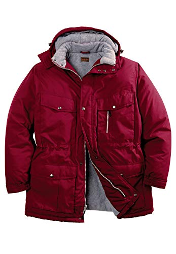 Boulder Creek Men's Big & Tall Expedition Parka Coat, Rich Burgundy Big-6XL