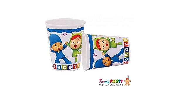CAPRILO Lote de 24 Vasos de Cartón Infantiles Pocoyo y Niña ...