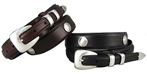 Buffalo Nickel & Indian Nickel Concho Oil Tanned Leather Ranger Belt