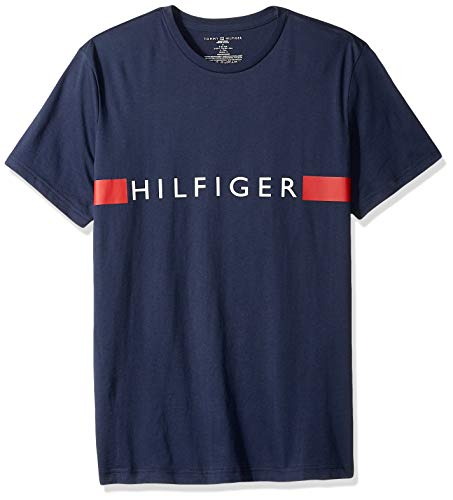 Tommy Hilfiger Men's Jersey Sleep Lounge Crew Neck T-Shirt, Dark Navy Large (Pack Tshirt Men Hilfiger Tommy)