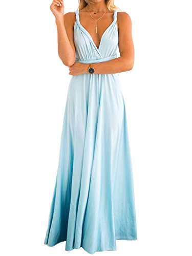 PERSUN Women's Convertible Multi Way Wrap Maxi Dress Long Semi Formal Party Long Dresses