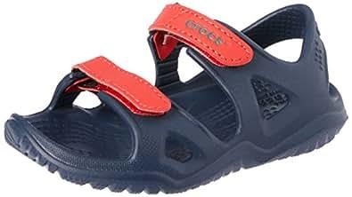Crocs Unisex Kids Swiftwater River Sandal, Navy/Flame, J1