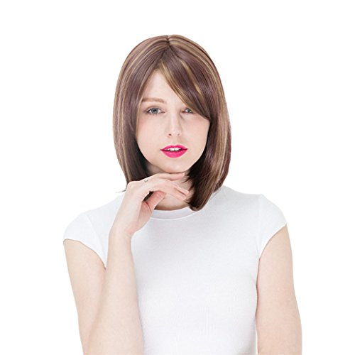 Hairpieces Female Wig Wig Short Curly Hair Bangs Wig in Europe and America Harajuku (Color : Brown) ()
