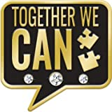 1'' Together We Can Lapel Pin, Teamwork Chat Pins with Rhinestones 100 Pack Prime
