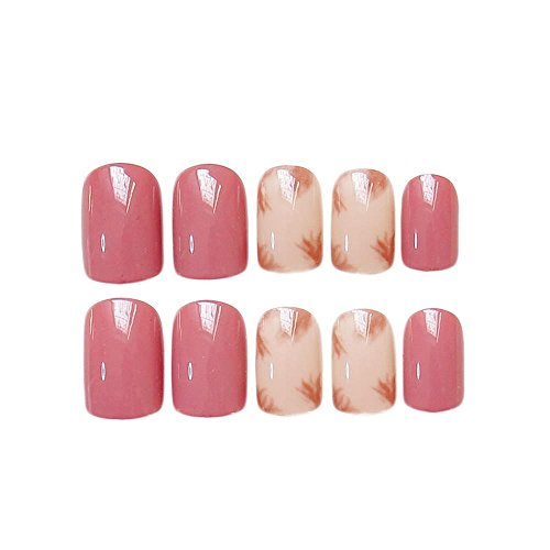 JINDIN 24 Sheet Pink Beige Fake Nails for Girls Short Square