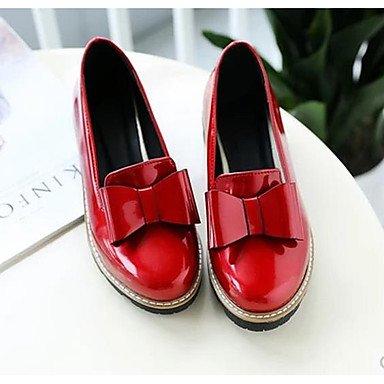 Lvyuan 5 Gris Mujer Rojo ggx Primavera Negro Casual Tacones Confort Pu Gray Cms 7 rvrwqUn