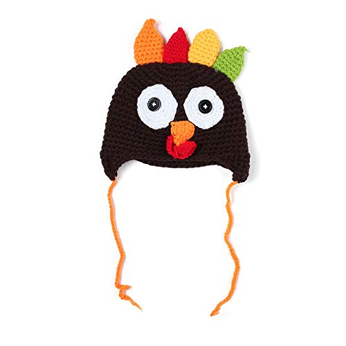 Baby Thanksgiving Christmas Beanie Turkey Knitted Cap, Cute Cartoon Animal Winter Hat, Elk Hat Photo Prop for Toddlers]()