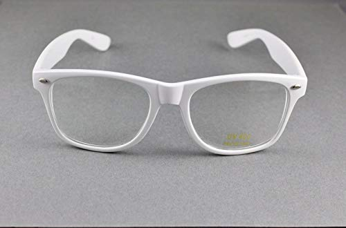 White clear lens risky business sunglasses 80s retro style glasses R-4904