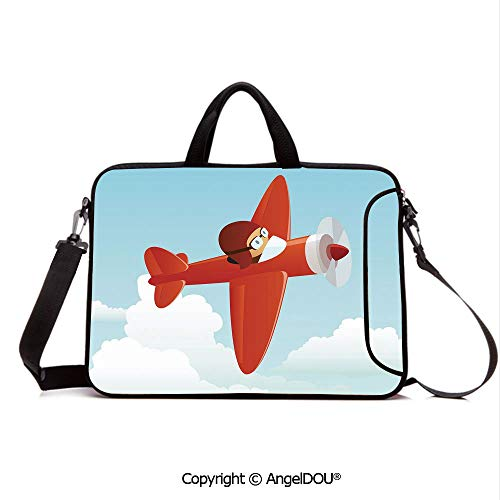 AngelDOU Laptop Sleeve Notebook Bag Case Messenger Shoulder Laptop Bag Cute Airplane Flying in Cloudy Sky Little Boy Pilot Baby Children Cartoon Print Compatible with MacBook HP Dell Lenovo Orange B