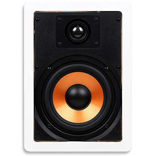 Micca M-6S 6.5 Inch 2-Way in-Wall Speaker with Pivoting 1″ Silk Dome Tweeter (Each, White)