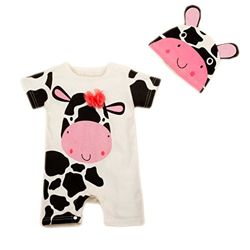 StylesILove Cute Animal Baby Costume Jumpsuit and Hat (18-24 Months, White Cow)