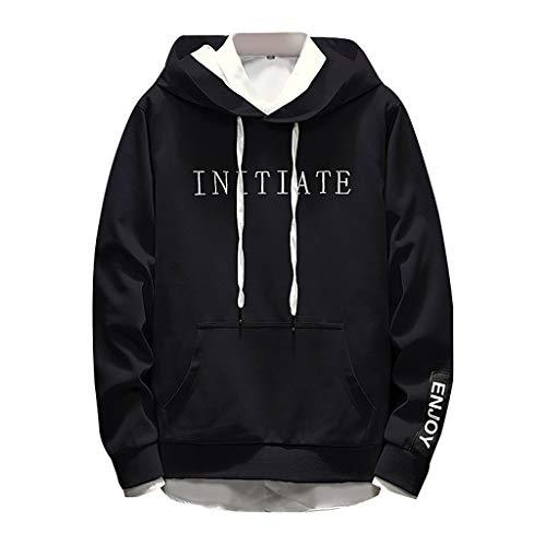Men's Sweatshirt Cap and Long Sleeve Guard Simple Letters Printed Hoodie Sweater Black (2ne1 Im The Best)