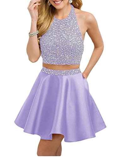 2 Piece Lavender Dress - LeoGirl Womens Sparkly Crystal Beaded Satin Short Two Piece Prom Dresses with Pockets Homecoming Sweet 16 Party Dress (2, Lavender)