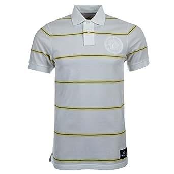 Nike Mens White BB Kobe GS Stripe Polo Shirt Size S
