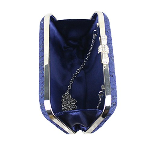 Blue Bags Wedding Purse Oval Prom navy Evening Womens Party Beaded Clasp Clutch Lace 7gwpwqnHX
