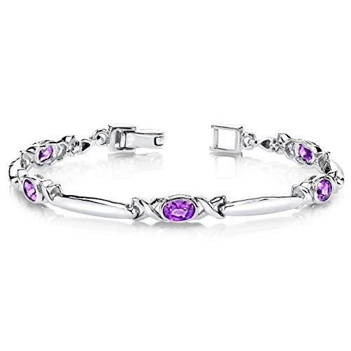 Amethyst Bracelet Sterling Silver 2.00 Carats Bezel Set
