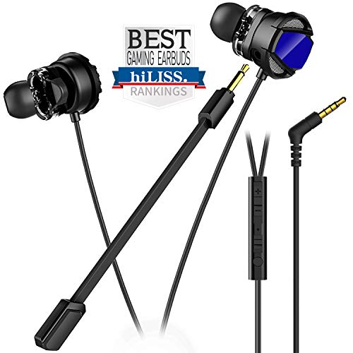 hiLISS Dual Drivers Gaming Earbuds with Mic (Black)