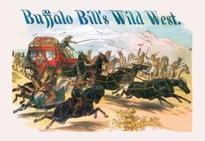 buffalo-bill-attack-on-stagecoach-gold-framed-and-matted-12-x-18-print