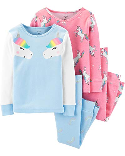 Carter's Toddler and Baby Girls' 4 Piece Cotton Pajama Set, Rainbow Unicorn, 5T