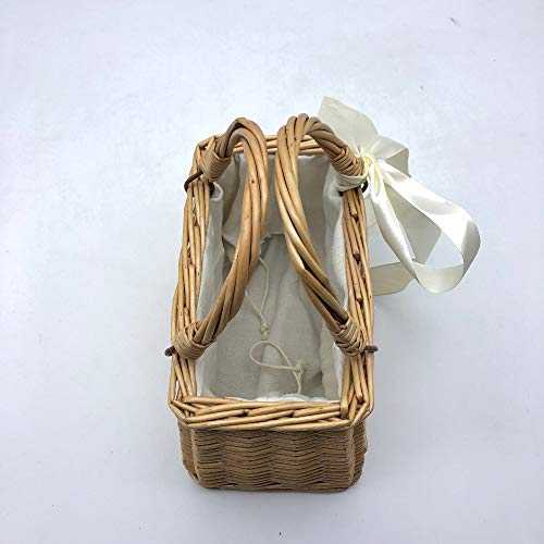 Style Summer Beach Woven Bag Straw Basket Bag Bow Cute Ribbons Handmade Holiday Women Handbag Dunnomart Rattan Bag Japanese 0vx0nP5