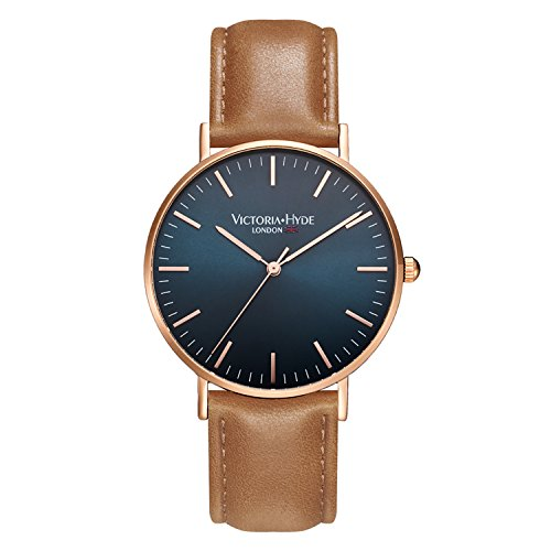 VICTORIA HYDE Men Quartz Watches Blue Face Second Hand Wristwatch Replaceable Leather Strap (Victoria Black Leather)