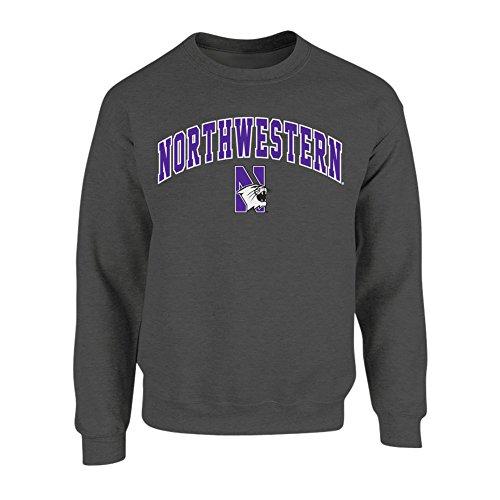 Elite Fan Shop NCAA Men's Northwestern Wildcats Crewneck Sweatshirt Dark Heather Arch Northwestern Wildcats Dark Heather X Large