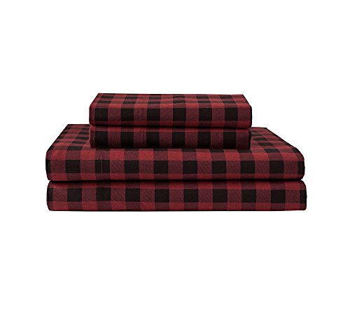 Elite Home Products Winter Nights Buffalo Plaid Cotton Flannel Sheet Set King