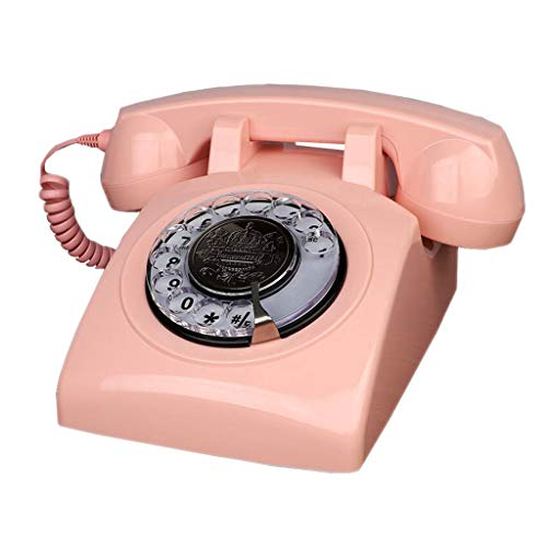 - Softgo Telephone Home Retro Mobile Phone Resin Mechanical Double Bells Dial Garden Fashion Creative European Office (Color : Pink)