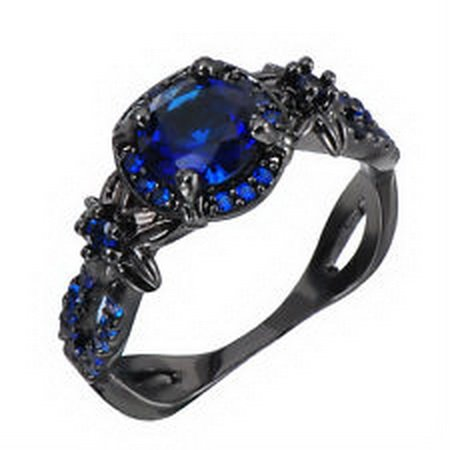 jacob alex ring 3.7ct Blue Zircon Sapphire Women's Ring Size 6 10kT Black Gold Filled Wedding