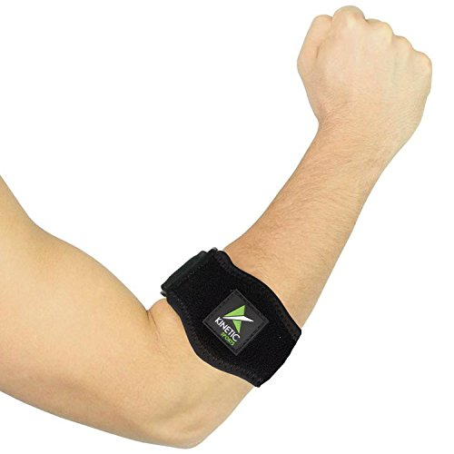 Medial Elbow Tennis - Tennis Elbow Brace with Compression Pad [2 Count] – Adjustable Counter-Force Strap, Support for Tennis & Golfers Elbow, Tendinitis, Lateral & Medial Epicondylitis Pain – Includes Bonus Wrist Sweatband