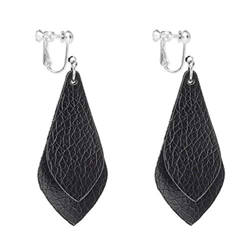 Dangle Leather Clip on Earrings Double Layered Faux Genuine Fashion PU Leather Teardrop Drop Women/Black
