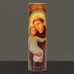 Saint Anthony, LED Flameless Devotion Prayer Candle 4 Hour Timer, Religious Gift