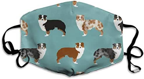 Face Mask for Dust, Allergy & Flu - Adjustable Ear Loops, Washable Antimicrobial Cancer Mask Germ Face Mask - Australian Shepherds Dogs Design (Adult)
