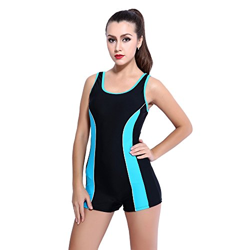 Topwigy One Piece Sports Swimsuit Athletic Boyleg Swimwear Bathing Suits Beachwear for Women Girls