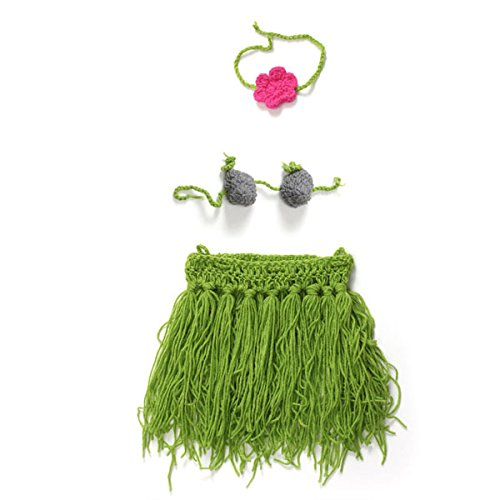 (ArMordy(TM) Crochet Knitting Hula Baby Skirt Costume Hand Made Adorable Newborn Photography Props for 0-6 Months 1 Set[ Grey)