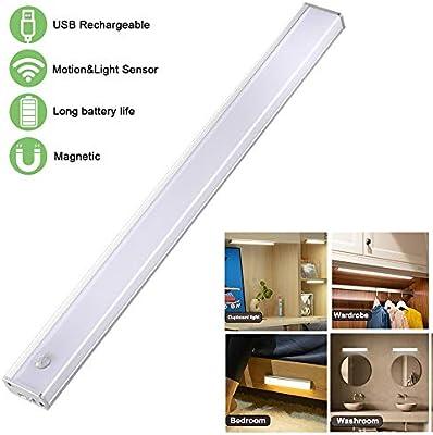 luces led armarios,LED Armario Luz Nocturna Sensor Luz Interiores Armario USB Recargable Luces Armario Lampara de Armario para Gabinete Escalera Cocina pasillo recámara sala infantil: Amazon.es: Iluminación