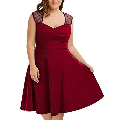 FRENDLY Summer Women Plus Size Dress V-Neck Sexy Sleeveless Party Dresses Polka Dot Mesh Pleated Slim Dress Red