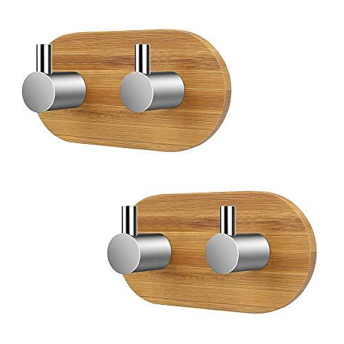 Towel Hooks, 2-Pack Double Hooks 304 Stainless Steel and Bamboo Coat Rack, Waterproof Adhesive Hooks for Home Kitchen Bathroom Hanging Coat Belt Keys Headset etc