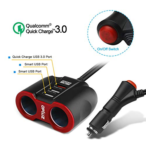 Opluz QC3.0 Smart Car Charger, 2 Auto Socket Cigarette Lighter Splitter &3 USB Charging Port with ON/Off Button for iPhone/iPad/Samsung/GPS Cell Phone