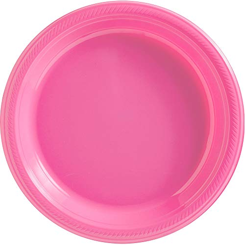 Bright Pink Plastic Luncheon Plates Big Party Pack, 50 Ct. -