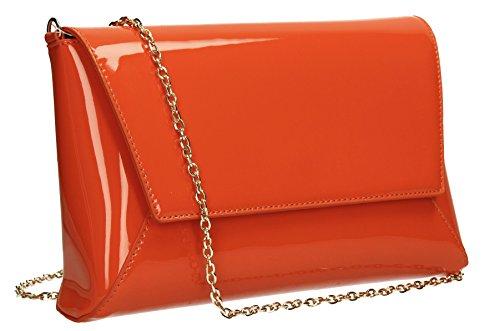 Elise-Sandalo da donna, in pelle verniciata per Night Out PopArtUK-Clutch-SWANKYSWANS Scarlet Orange