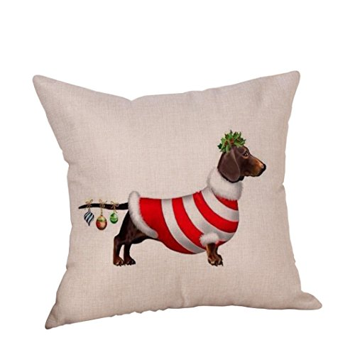 Price comparison product image Happy Christmas Pillow Cases, Napoo Dog Cotton Linen Cushion Covers Decorative Throw Pillow Cover 18X18 Inches (Q)