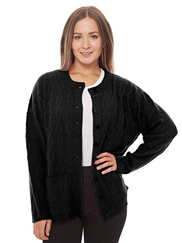Knit Minded Womens Long Sleeves Crew Neck Cable Knit Button Cardigan With Front Pockets Black Medium Button Through Pocket