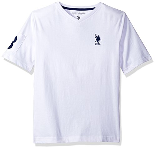 U.S. Polo Assn. Big Boys' Solid V-Neck T-Shirt With Large Embroidered Logo, White/Marina Blue, 14/16