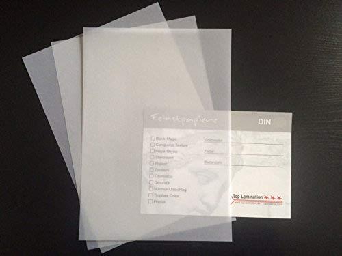 Top Lamination 50 Blatt DIN A6 Transparentpapier klar-weiß 200g/m² exzellente Durchsicht, sehr gute Qualität, mögliche Verwendung: Einladungen, Visitenkarten, Einlegeblätter für Alben, Fotoalben, Fensterbilder, Bastelarbeiten