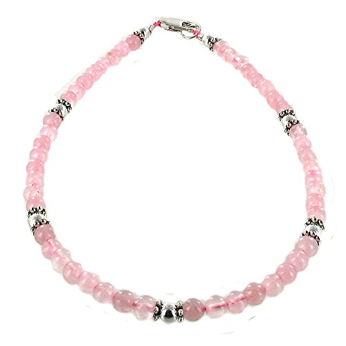 Womens Rose Quartz & Sterling Silver Ladies Beaded Gemstone Anklet with Daisies - 10