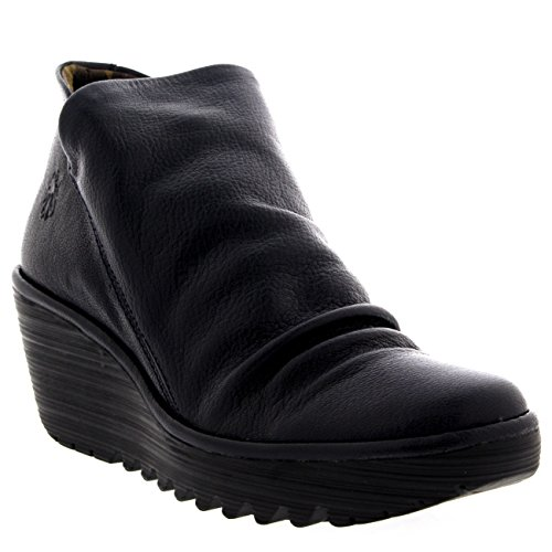 FLY London Womens Yip Mousse Casual Wedge Heel Winter Leather Ankle Boot - Navy - 9