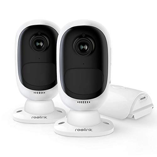 Reolink Argus 2 (2 Pack) | Outdoor Wireless Home Security Camera System | Rechargeable Battery/Solar-Powered 1080p HD Wire-Free 2-Way Audio Starlight Color Night Vision w/PIR Motion Sensor & SD Slot